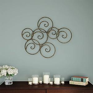 Lavish Home Wall Decor-Metallic Interlocking Scrolled Circles Geometric Modern Art for Living Room, Bedroom or Kitchen, Gold