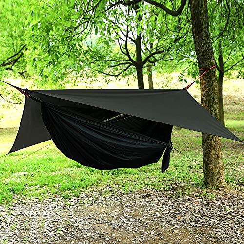 AEETT Camping Hammock with Mosquito Net and Rain Fly – Travel Hammock Bug Net – Hammock Tent for Outdoor Hiking Backpacking Travel Camping Accessories and Camping Gear