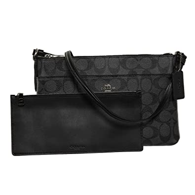 cb2706a74f2950 COACH Signature East West Crossbody with Pop-Up Pouch in Black Smoke:  Handbags: Amazon.com