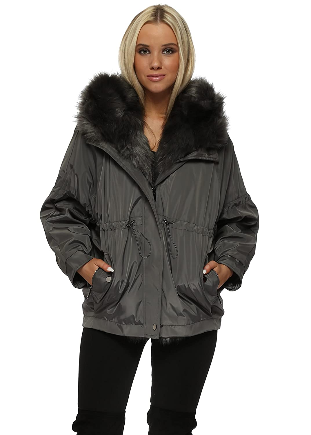 ce7f8a7d5b48 Drole de Copine Grey Hooded Puffer Jacket with Detachable Faux Fur M/L Grey:  Amazon.co.uk: Clothing