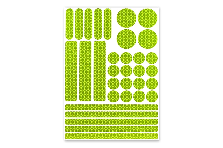 Hoch reflektierende Sticker Leucht-Aufkleber 33 Teile selbstklebend Reflexfolie - Set zur Sicherheits-Markierung von Kinderwagen, Fahrrad, Schulranzen, Rollstuhl, Gehhilfen, Helme in fluor-lime Reflecto