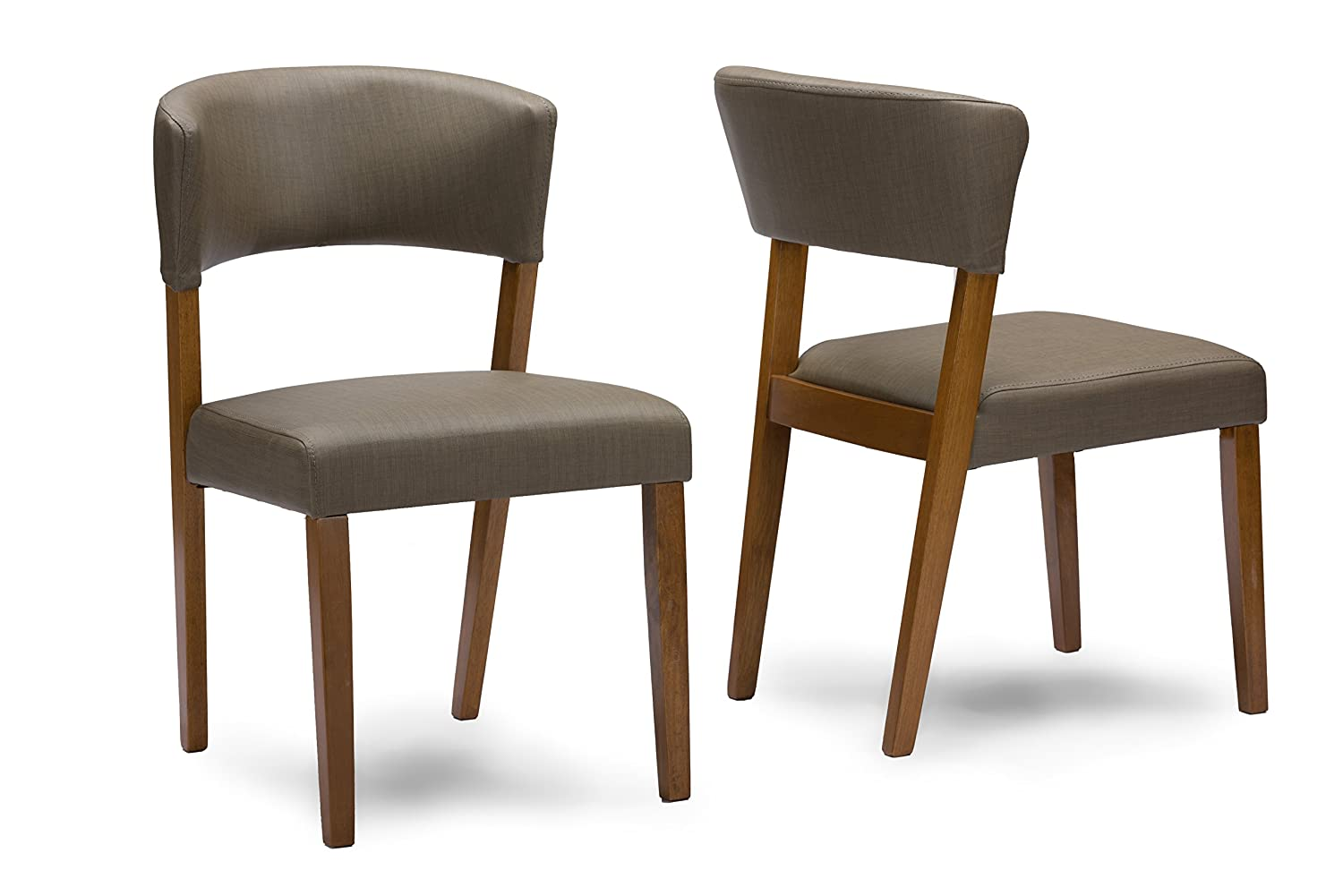 Amazon.com   Baxton Studio Set Of 2 Montreal Mid Century Dark Walnut Wood  And Grey Faux Leather Dining Chairs   Chairs