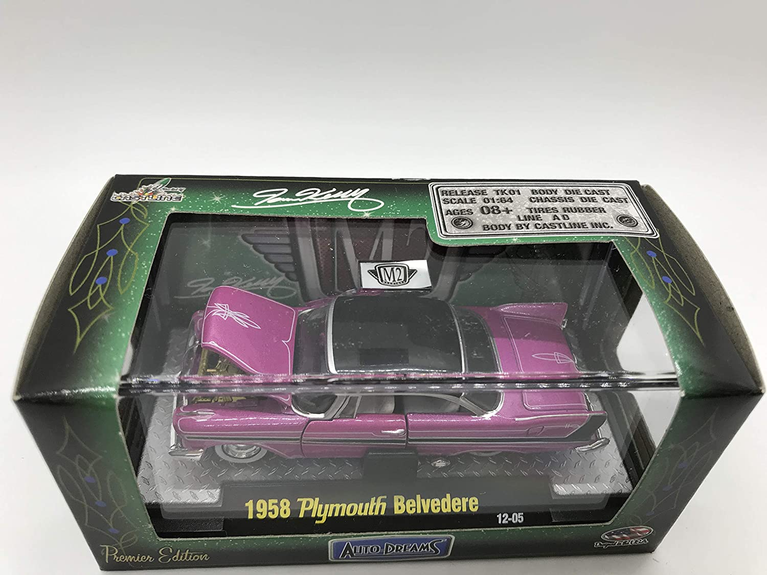 Over 42 Parts M2 Machines Auto-Dreams 1958 Plymouth Belverdere Crazy Painter Tom Kelly Edition 12-05 Purple//Pink Details Like NO Other