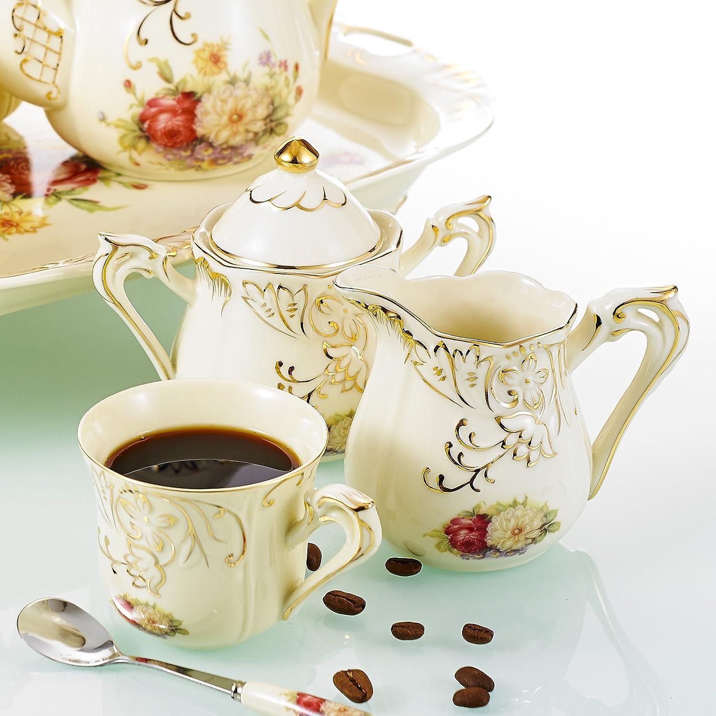 juego de juego de t/écaf/é Panbado,12 piezas Servicio de caf/é de porcelana de marfil