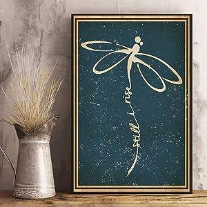 "VinMea Unframed Decorative Art Printing Poster Still I Rise Dragonfly Wall Art Paper Poster Printing Unframed Prints for Wall Decor 12"" X 16"""
