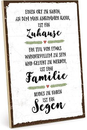 Typestoff Holzschild Mit Spruch Familie Zuhause Segen Im Vintage Look Mit Zitat Als Geschenk Und Dekoration Zum Thema Geborgenheit Liebe Und