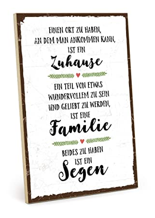Amazonde Typestoff Holzschild Mit Spruch Familie Zuhause Segen