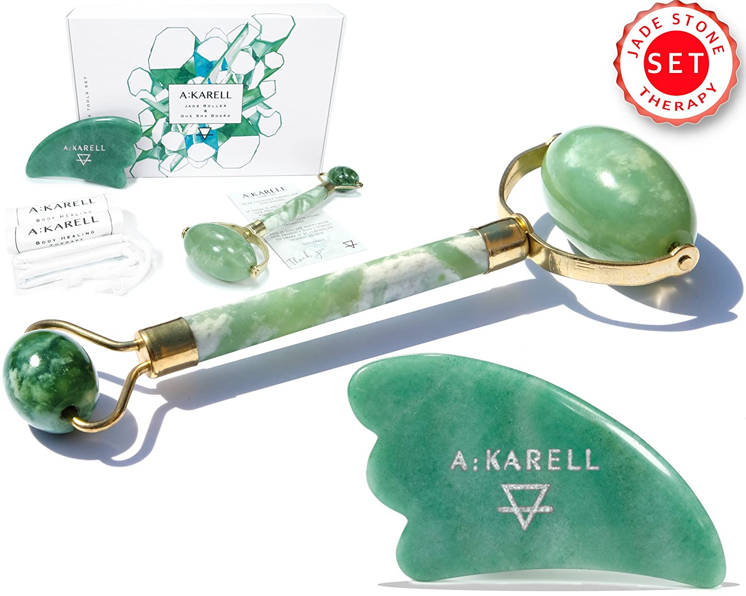 Akarell JADE ROLLER AND GUA SHA SET 100% Real Jade Stone Anti Aging Skincare Therapy Tool Jade Facial Roller Depuffing Anti-Wrinkle Treatment Facial Beauty Tool Jade Roller for Face De Puffer Massager