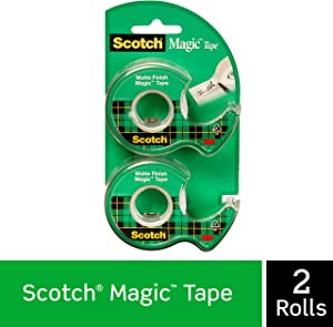 Scotch Brand Magic Tape, Numerous Applications, Engineered for Repairing, 1/2 x 750 Inches, 2 Dispensered Rolls (119SDM-2)