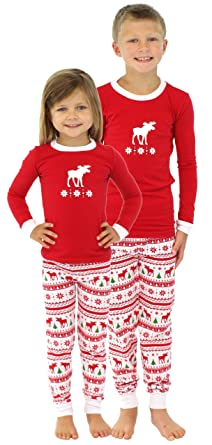 65a6403902 SleepytimePjs Kids Moose Family Matching Pajamas Red Top Printed Pants-6Kid