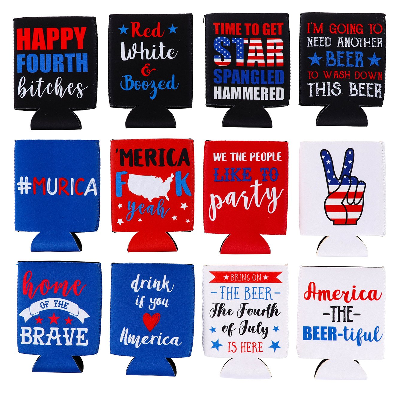 Fodere, 340,2 gram –  12-pack Patriotic can Covers drink porta con isolante in neoprene Coolers per soda, Beer can bevande, 12 design a tema Americano, 6,1 x 6,1 x 10,2 cm 12design a tema Americano 1x 6 1x