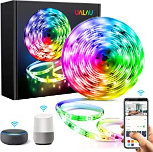 UALAU Dreamcolor WiFi LED Strip Lights Compatible with Alexa, Google Home, Music Synic Smart APP Control Color Changing LED Light Strip for Room, Bedroom, Kitchen, TV and Outdoor, Waterproof, 16.4FT