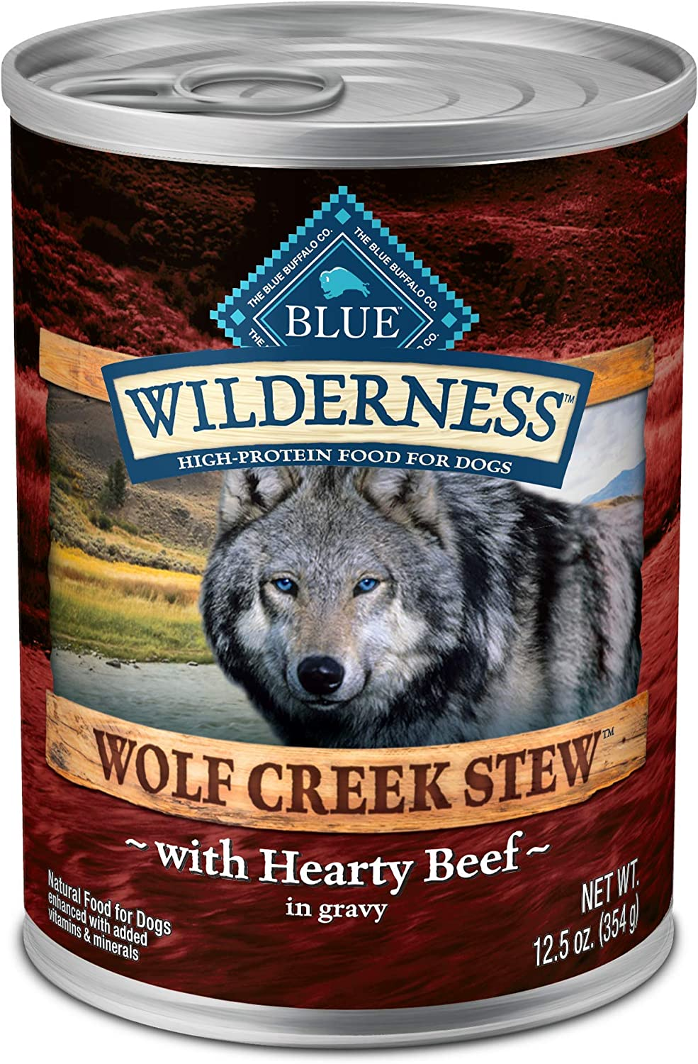 Blue Buffalo Wilderness Wolf Creek Stew High Protein Grain Free Natural Wet Dog Food, 12.5-oz can (Pack of 12)