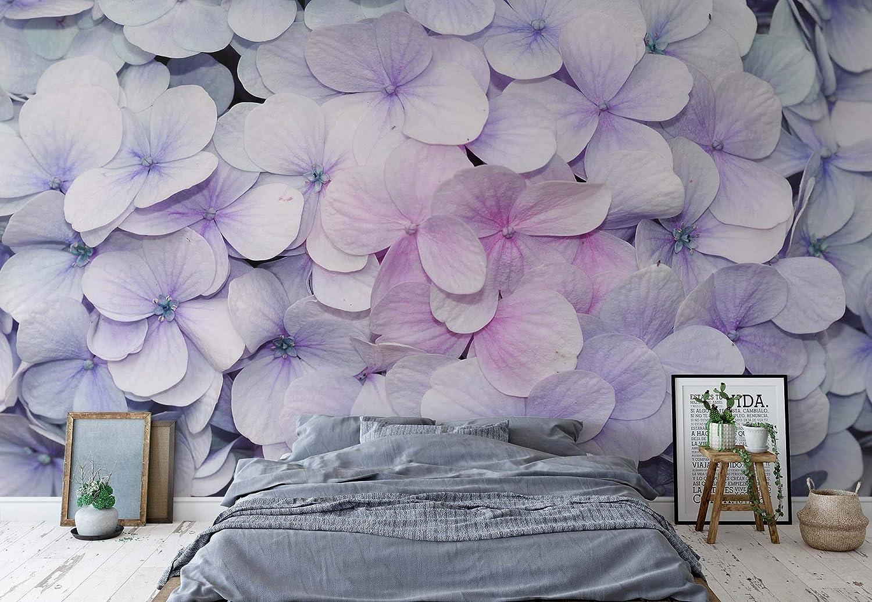 Flores Hortensias Lila Rosa Papel pintado fotográfico–cuadro de papel pintado fotográfico de papel pintado (3121ws), FIELTRO (EasyInstall), XXL - 312cm x 219cm