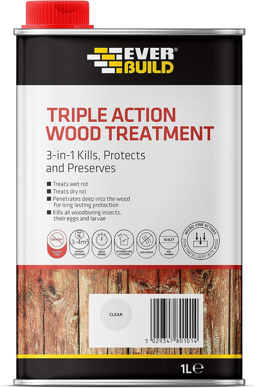 Everbuild EVBLJUN01 Triple Action Wood Treatment 1 Litre, Clear