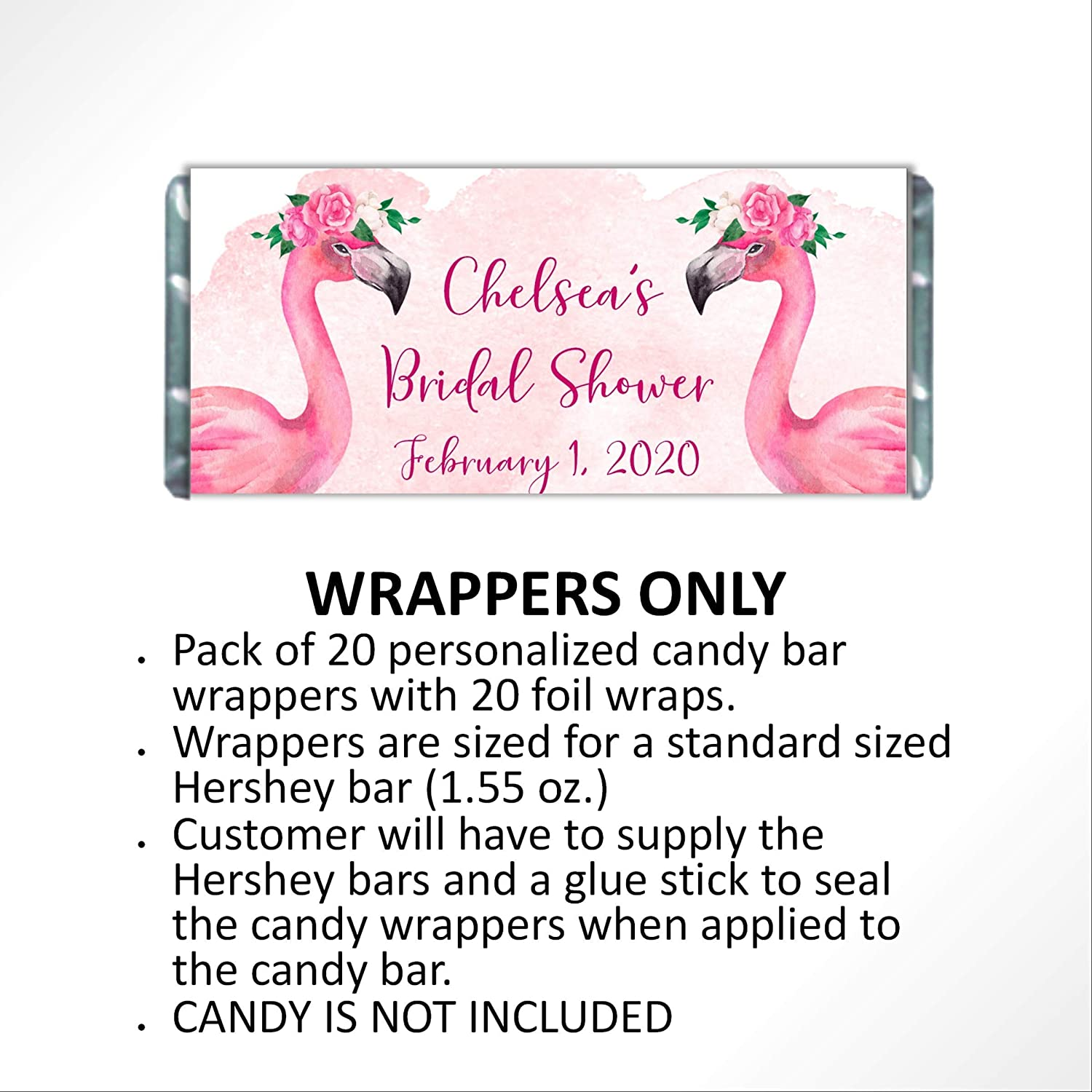 Baby Shower Birthday Pink Flamingo Candy Bar Favors with Bling Fully Assembled Personalized Candy Bar Wrapper for Bridal Shower