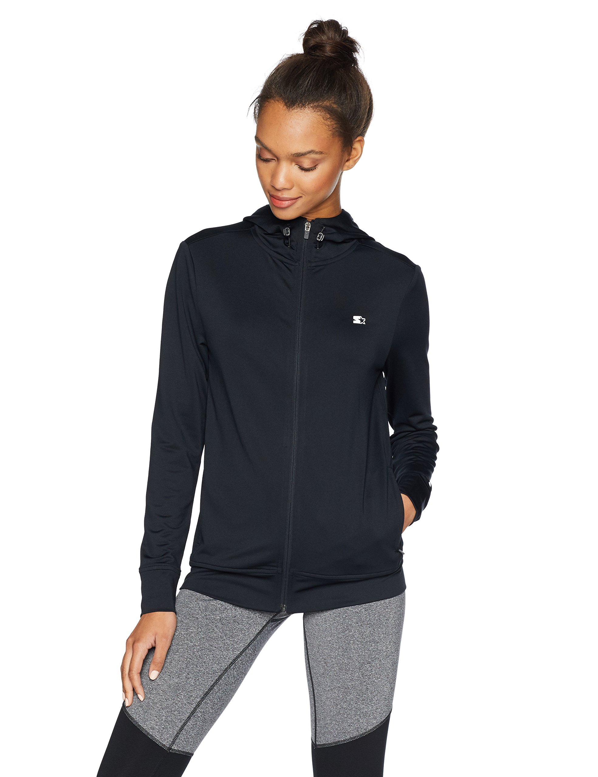 Starter Women's Lightweight Run Jacket with Hood, Prime Exclusive, Black, Extra Large
