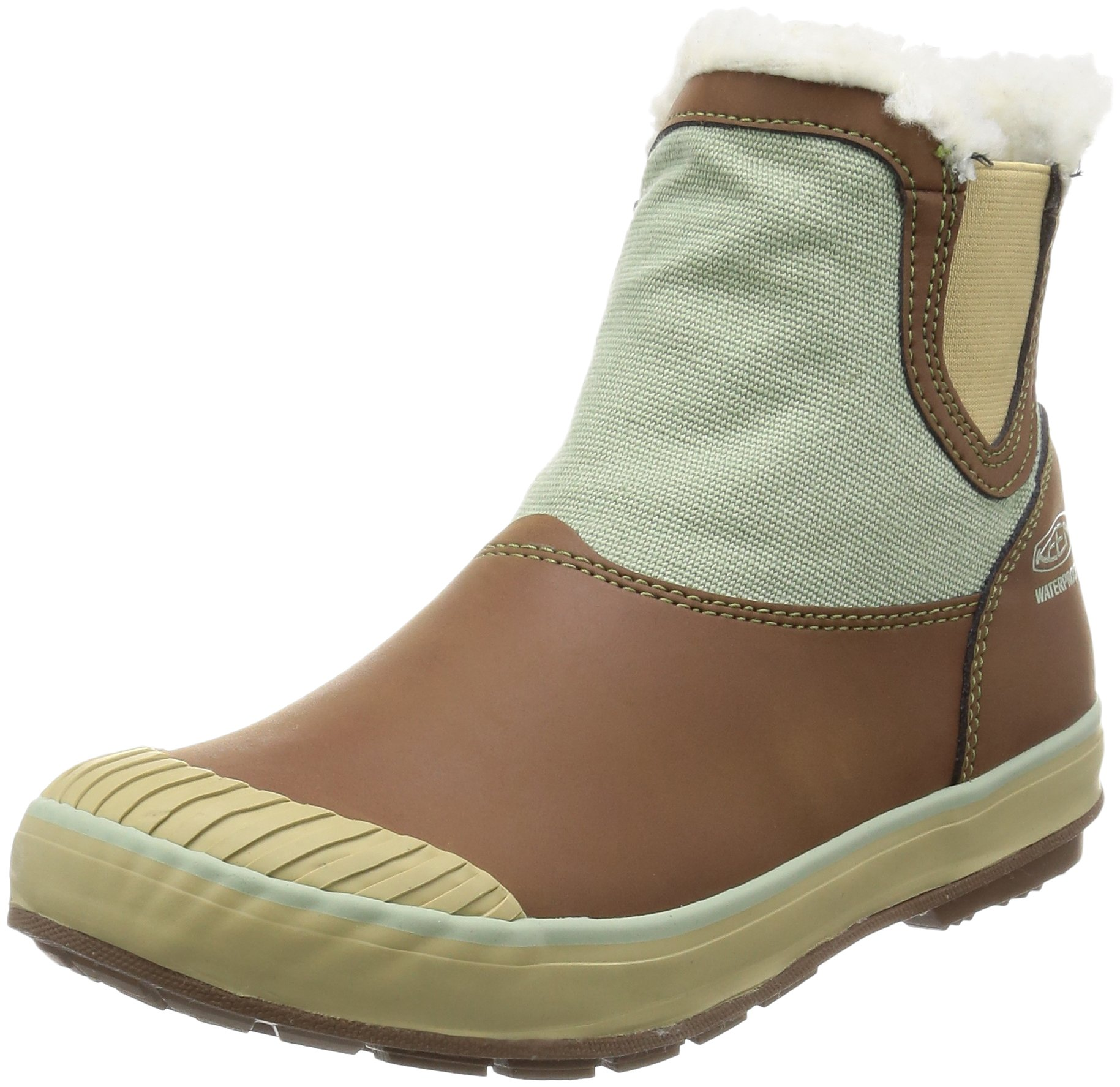 KEEN Women's Elsa Chelsea Waterproof Boot, Cocoa/Desert Sage, 6.5 M US