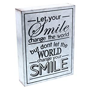 "Barnyard Designs Let Your Smile Change The World Galvanized Metal Box Wall Art Sign, Primitive Country Farmhouse Home Decor Sign with Sayings 8"" x 6"""