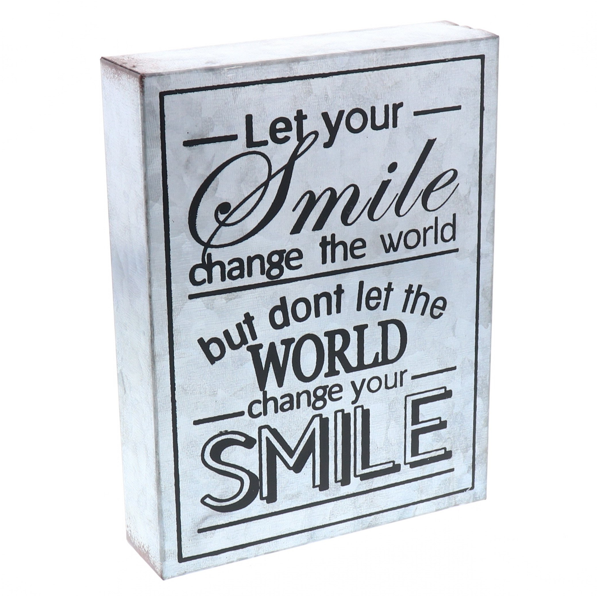 Barnyard Designs Let Your Smile Change The World Galvanized Metal Box Wall Art Sign, Primitive Country Farmhouse Home Decor Sign with Sayings 8'' x 6''