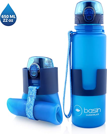21oz Sport Water Bottle Food Grade Collapsible Foldable Silicone Travel Blue