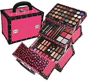BR Carry All Trunk Train Case with Makeup and Reusable Case Makeup Gift Set (Pink)