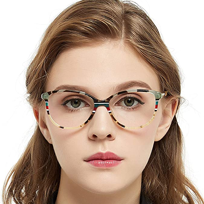 b58e86af48e Amazon.com  OCCI CHIARI Fashion Oval Acetate Eyeglasses Frame With Clear  Lenses (Yellow pattern