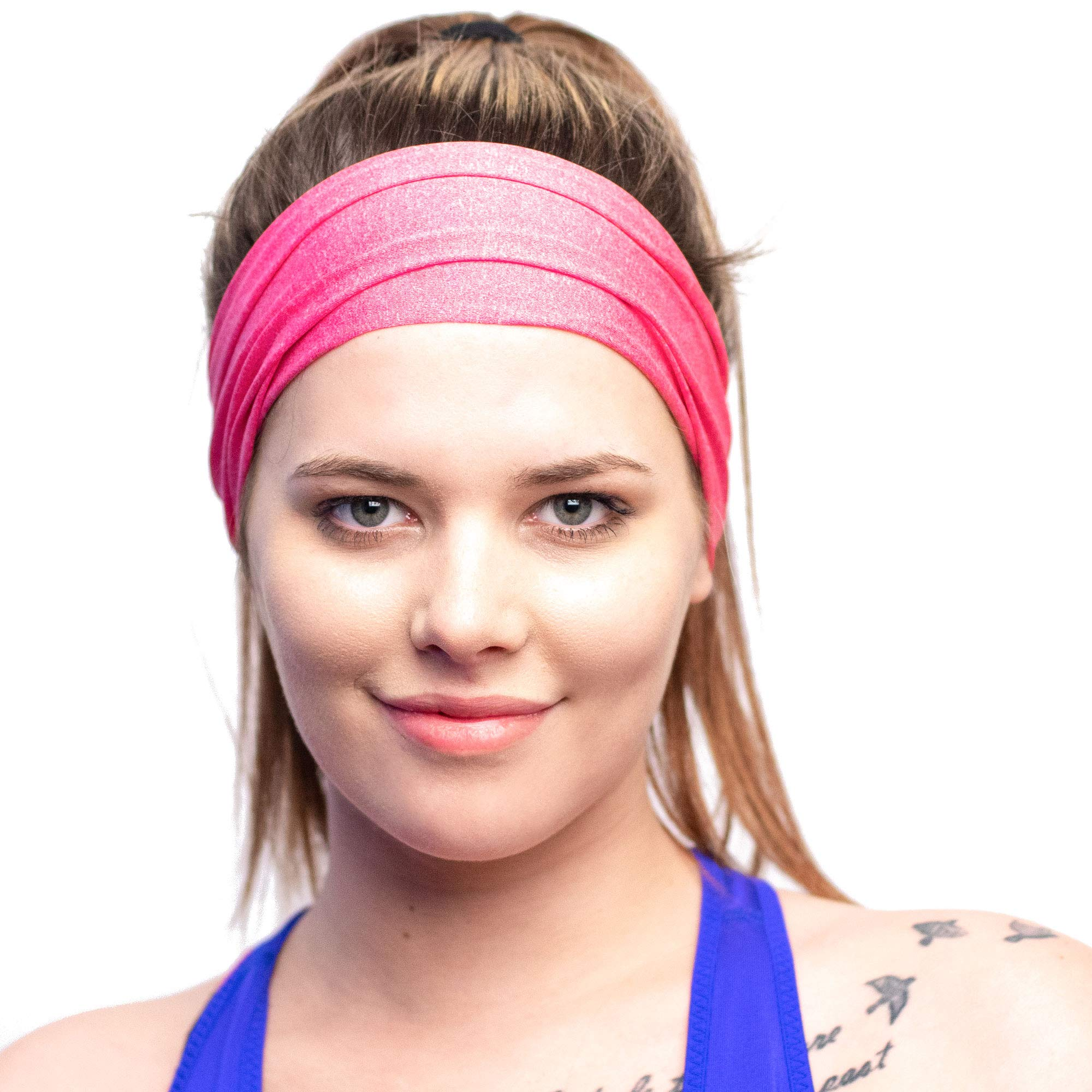 Red Dust Active Running Sweatband - Lightweight, Non-Slip, Wide & Sweat Wicking - Pink Workout Headband Made for Active Lifestyles by Red Dust Active (Image #1)