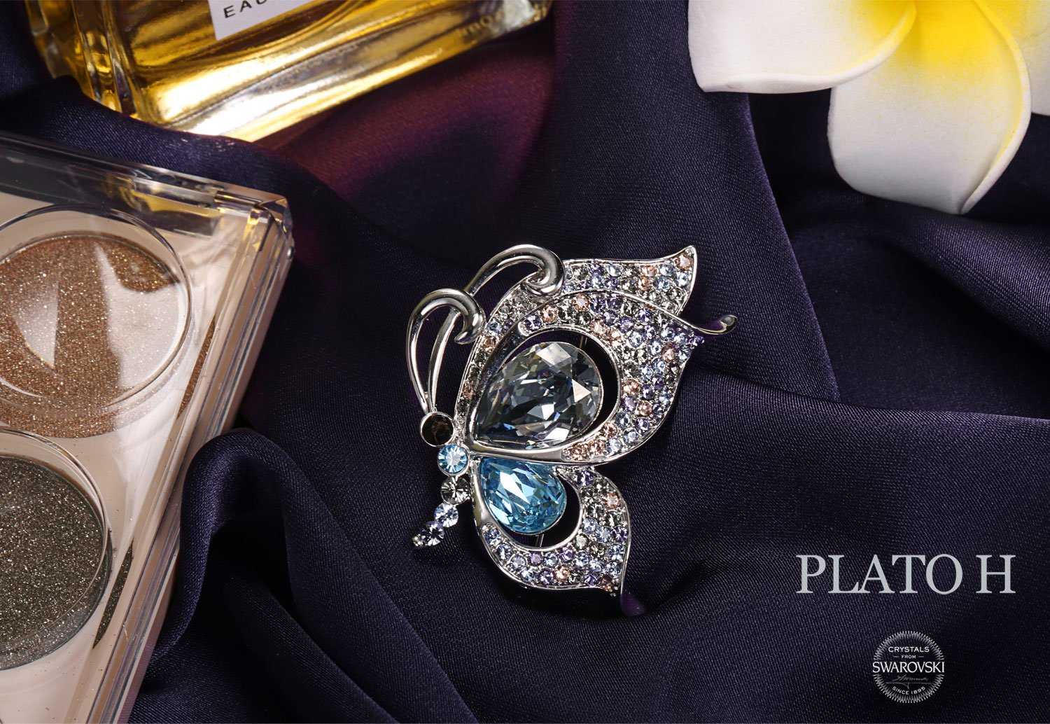 PLATO H Cute Butterfly Crystal Brooch Necklace Elegant Butterfly Brooch with Swarovski Crystals Women Fashion Jewelry Romantic Gift for Her