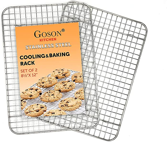 "Goson Kitchen Stainless Steel Heavy Duty Metal Wire Cooling, Cooking, Baking Rack For Baking Sheet, Oven Safe up to 575F, Dishwasher Safe Rust Free | 8.5""x12""; SET OF 2"