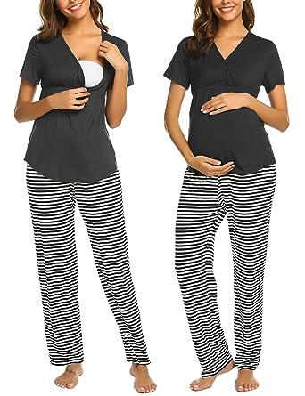 093d3ff9b96 Ekouaer Nursing PJ Nightgown Hospital Delivery Labor Maternity Pregnancy  Short Sleeve Soft Breastfeeding