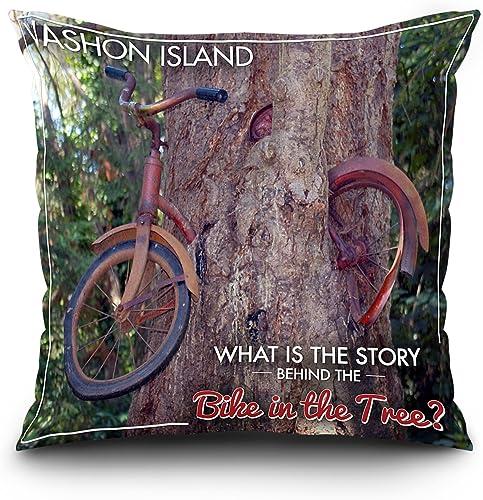 Lantern Press Vashon Island, WA – Bike in The Tree 20×20 Spun Polyester Pillow, Square