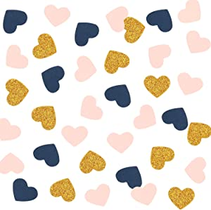300PCS Heart Confetti, Table Confetti, Party Confetti, Anniversary Confetti for Bridal Shower Decor, Wedding Table Decor, Baby Shower, Valentines Day (Gold Glitter, Pink, Navy)