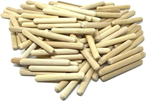"100 Pack 1/4"" x 2"" Wooden Dowel Pins Wood Kiln Dried Fluted and Beveled, Made of Hardwood in U.S.A."