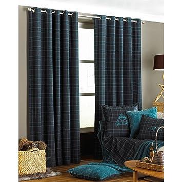 Green Curtains black green curtains : Tartan Check Curtains - Black Grey & Teal Blue Curtain Pair - Ring ...