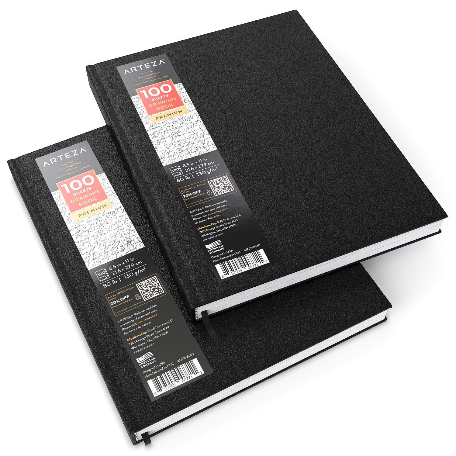 ARTEZA 8.5x11 Hardbound Sketchbook, Set of 2 Heavyweight Hard Cover Sketch Journals, 100 Sheets Each, 80lb/130gsm, Perfect for Drawing, Sketching, and Journaling (Set of 4)
