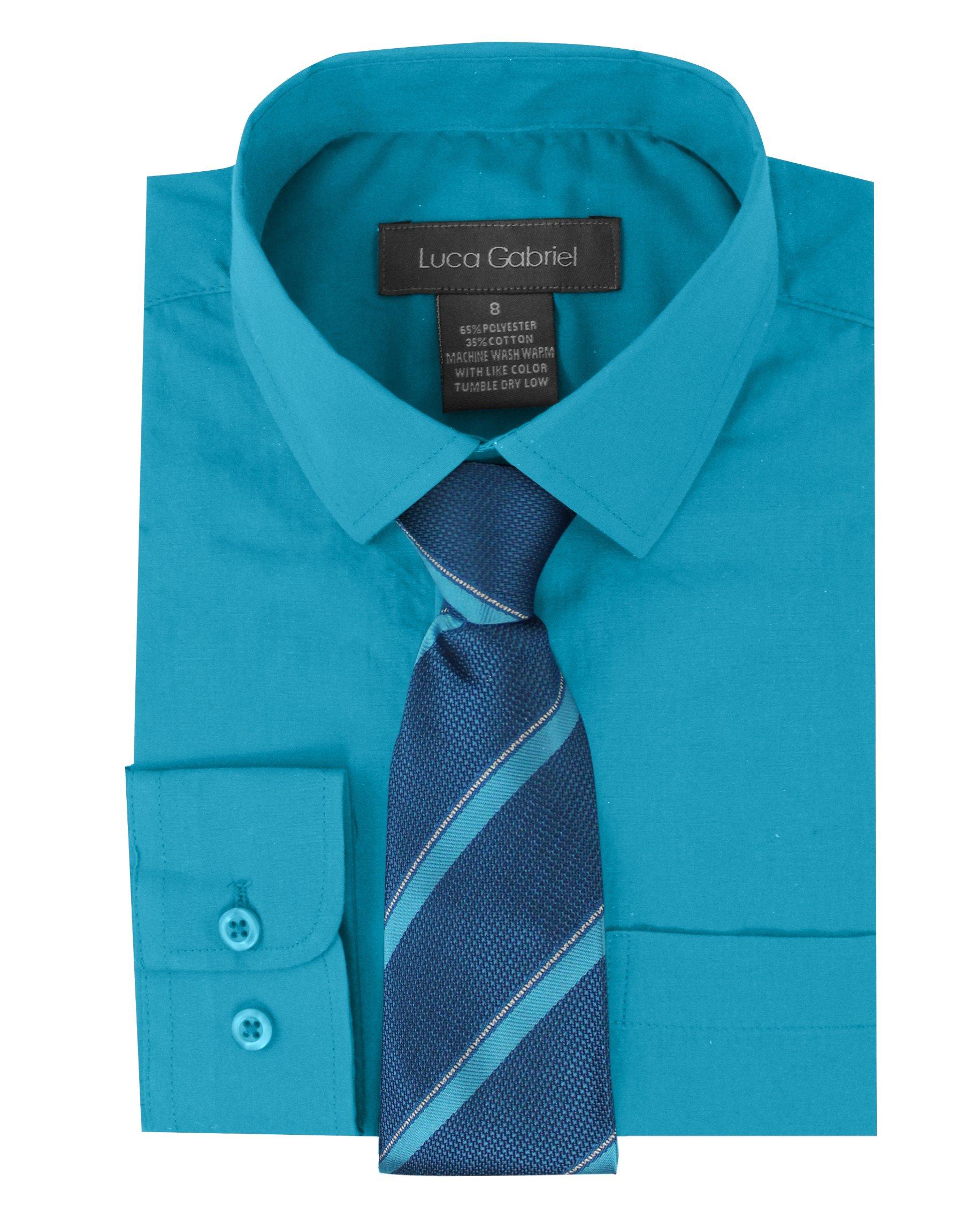 Luca Gabriel Toddler Boy's Long Sleeve Formal Button Down Dress Shirt & Tie Set - Turquoise Size 5