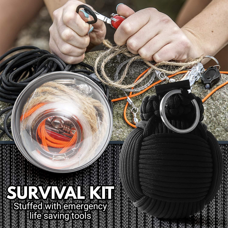 Holtzman's Survival Kit Paracord Grenade The #1 Best 48 Tool Emergency kit (Solid Black) by Holtzman's Gorilla Survival (Image #6)
