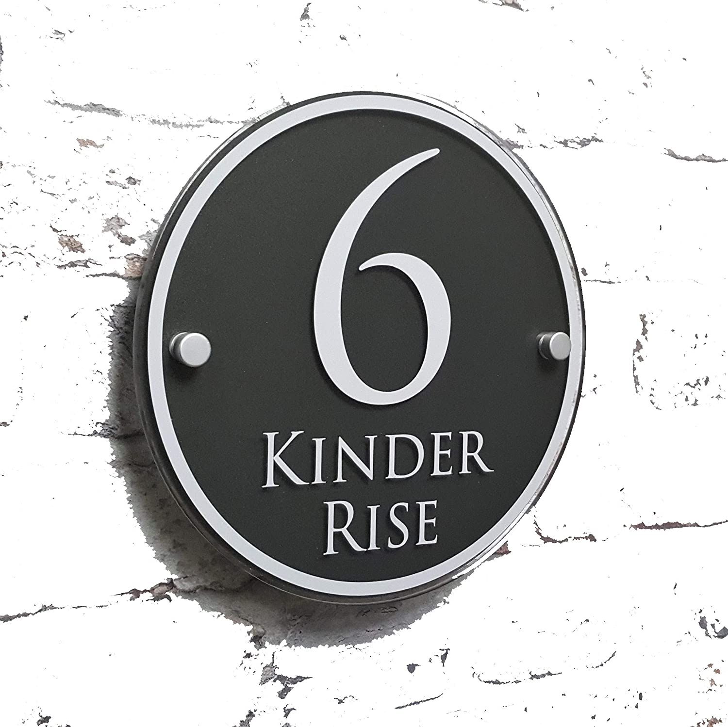 MODERN HOUSE SIGN ADRESS PLAQUE DOOR NUMBER NAME PLATE PERSONALISED GLASS EFFECT 'ROUND' HOUSE SIGN SOLUTIONS
