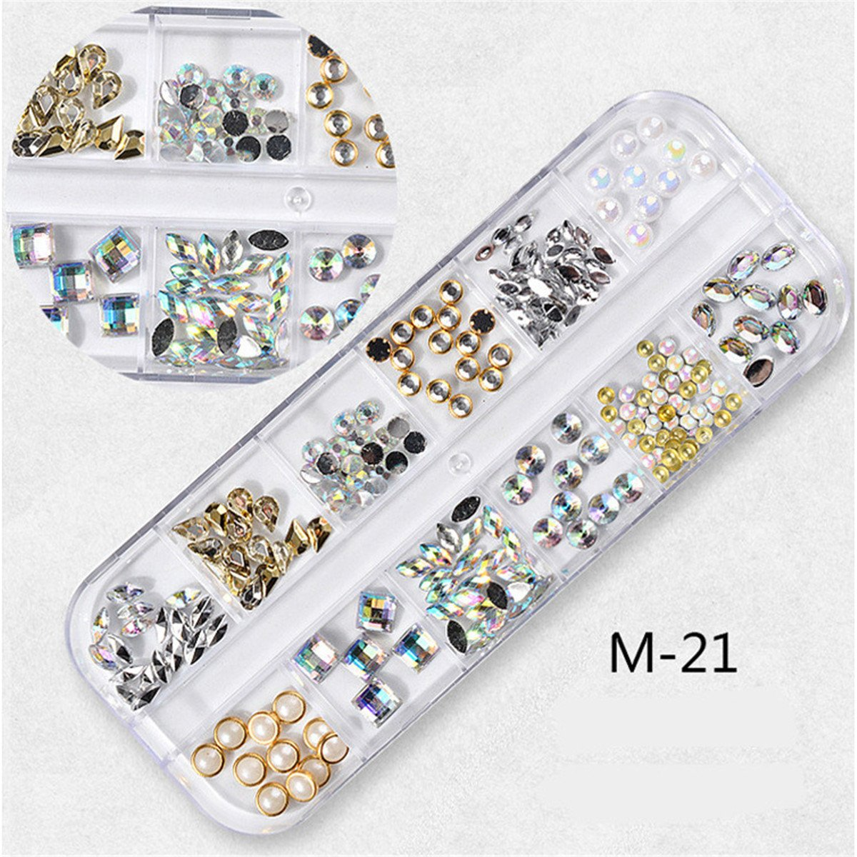 Mezerdoo 1 Set Shinny Bead Metal Pearls Crystal DIY Nail Art Rhinestones 3D Bead Stone Flat Decoration Shining Diamond Rhinestone Diy Tools