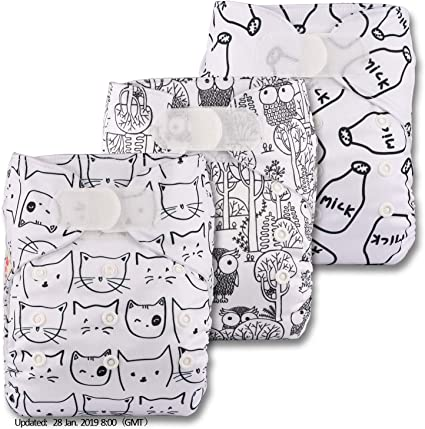 Littles /& Bloomz Reusable Pocket Cloth Nappy Patterns 313 with 6 Microfibre Inserts Set of 3 Fastener: Popper