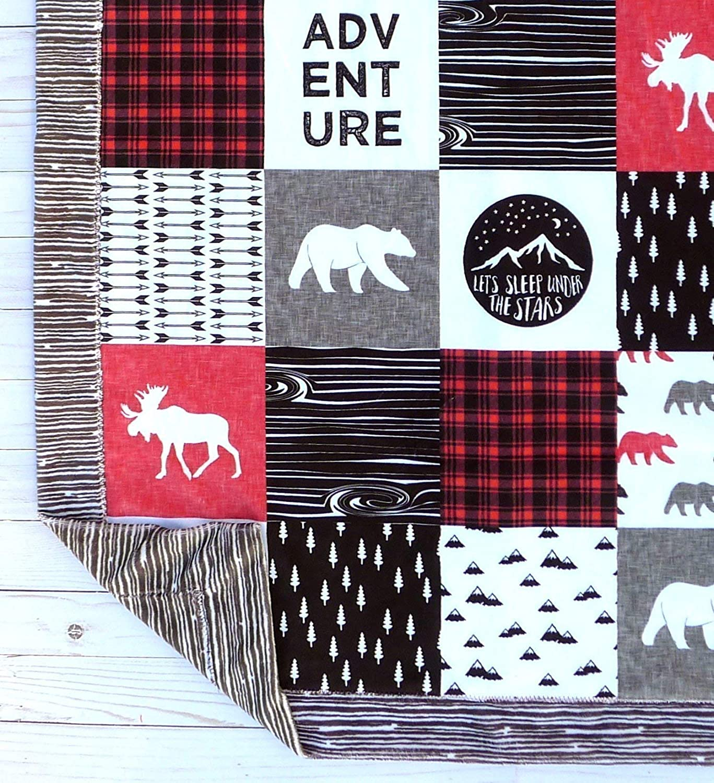 Crib Bedding Nursery Decor Faux Patchwork Black White Red Minky Baby Blanket Moose Baby Blanket Woodland Blanket -Baby Blanket Bear Baby Blanket
