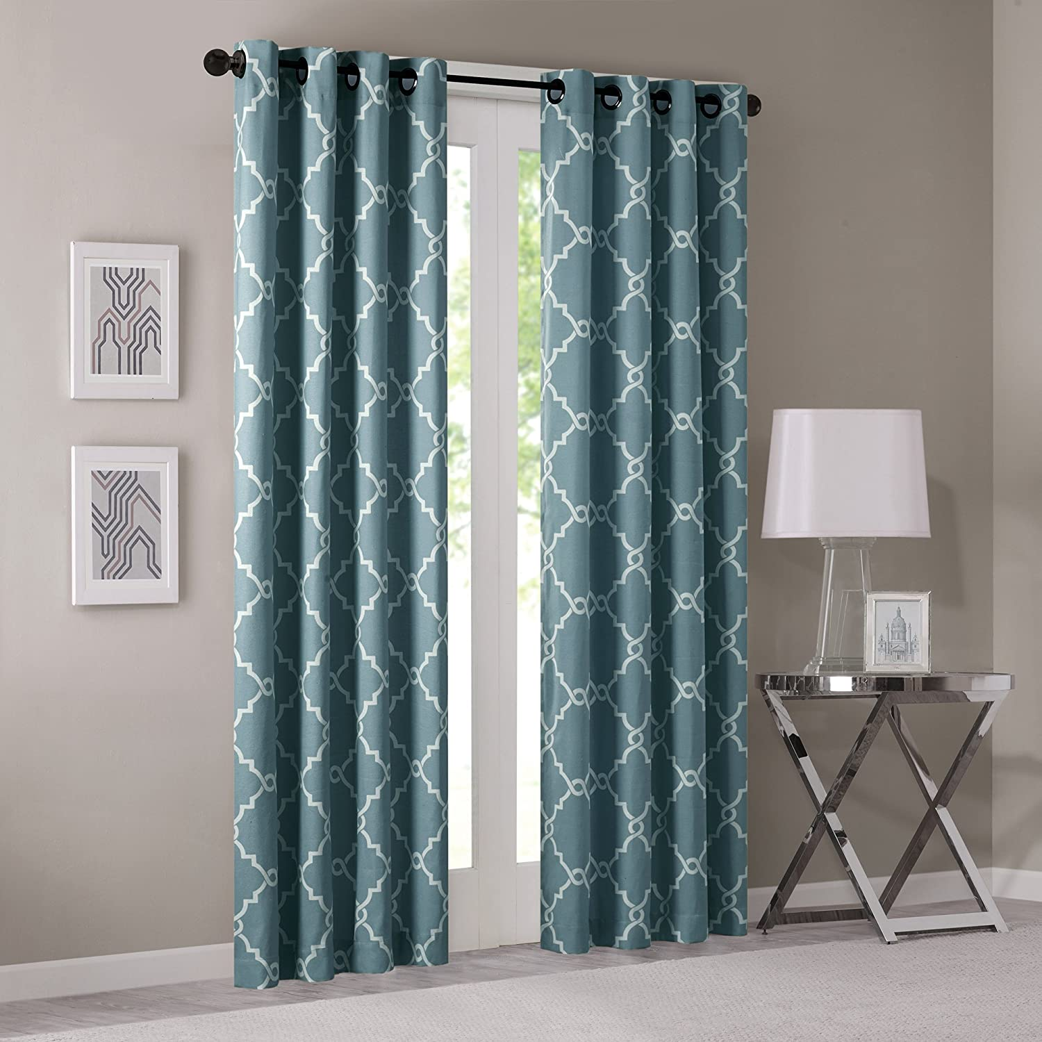 Madison Park Saratoga Fretwork Print Window Curtain, 50x63, Blue 50x63 MP40-1571