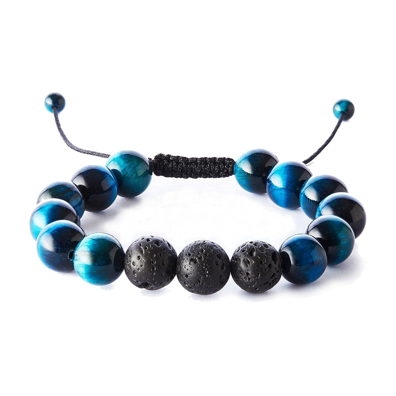 Tigerstar Balance Natural 12mm Tiger Eye Lava Rock Stones Bracelet, Healing Energy Beads Yoga Handmade Meditation Braided Wrist Bracelet for Men and Women