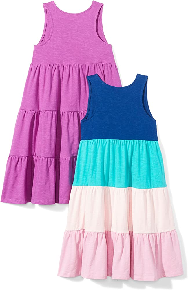 Spotted Zebra Girls Toddler /& Kids 2-pack Knit Ruffle Top Rompers Brand