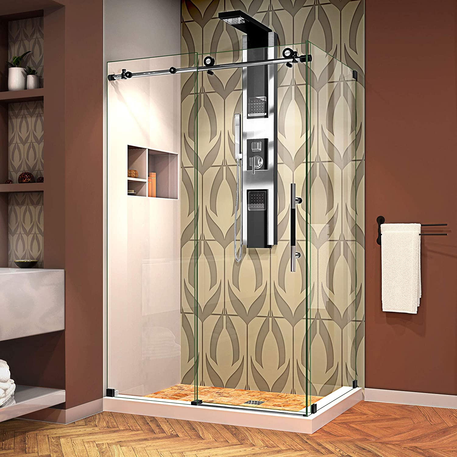 DreamLine SHEN-6134480-18 Enigma-XT 34 1 2 in. by 48 Fully Frameless Sliding Enclosure, Clear 3 8 in. Glass Shower, Tuxedo Finish, 44 3 8-48 W x 34.5 D
