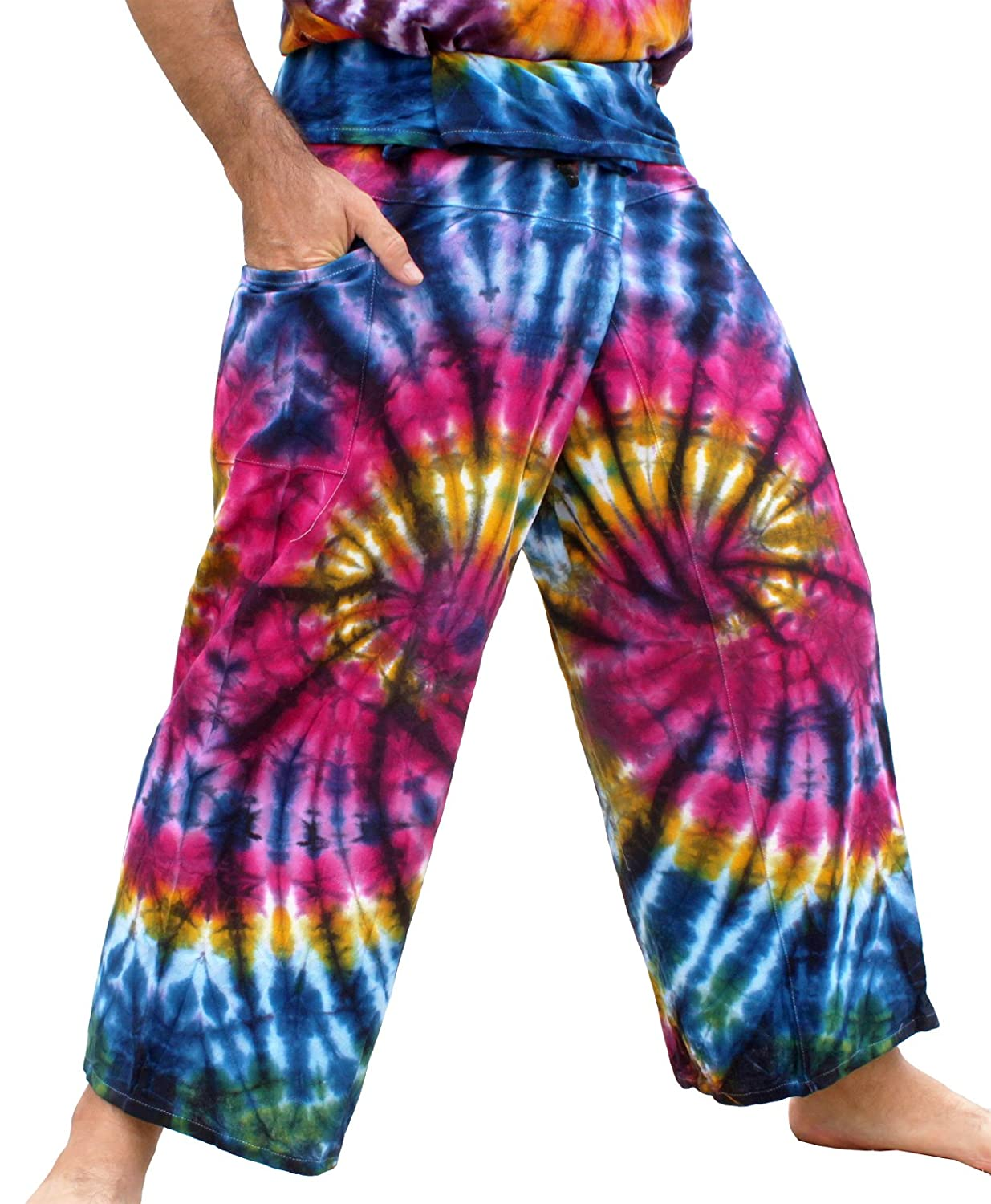 bluee Pink Amazon Dreams RaanPahMuang Thick Muang Cotton Thai Fishermans Pants Vibrant TieDyed Tie Dye