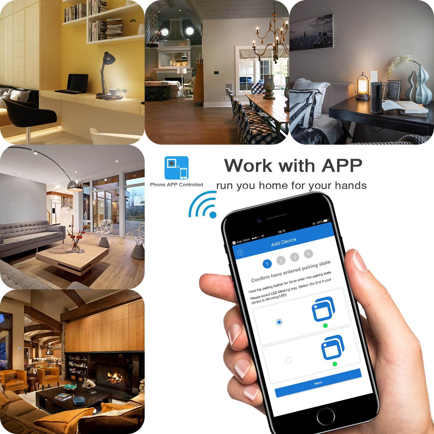 Arvin Light Switch, Compatible with Alexa In Wall Light Switch Mobile Phone  APP Remote Alexa Control Sensitive Touch Wireless Light Swtich (Smart