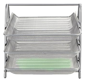 54943e6fa Amazon.com: Mind Reader 3 Tier Steel Mesh Paper Tray Desk Organizer,  Silver: Home & Kitchen