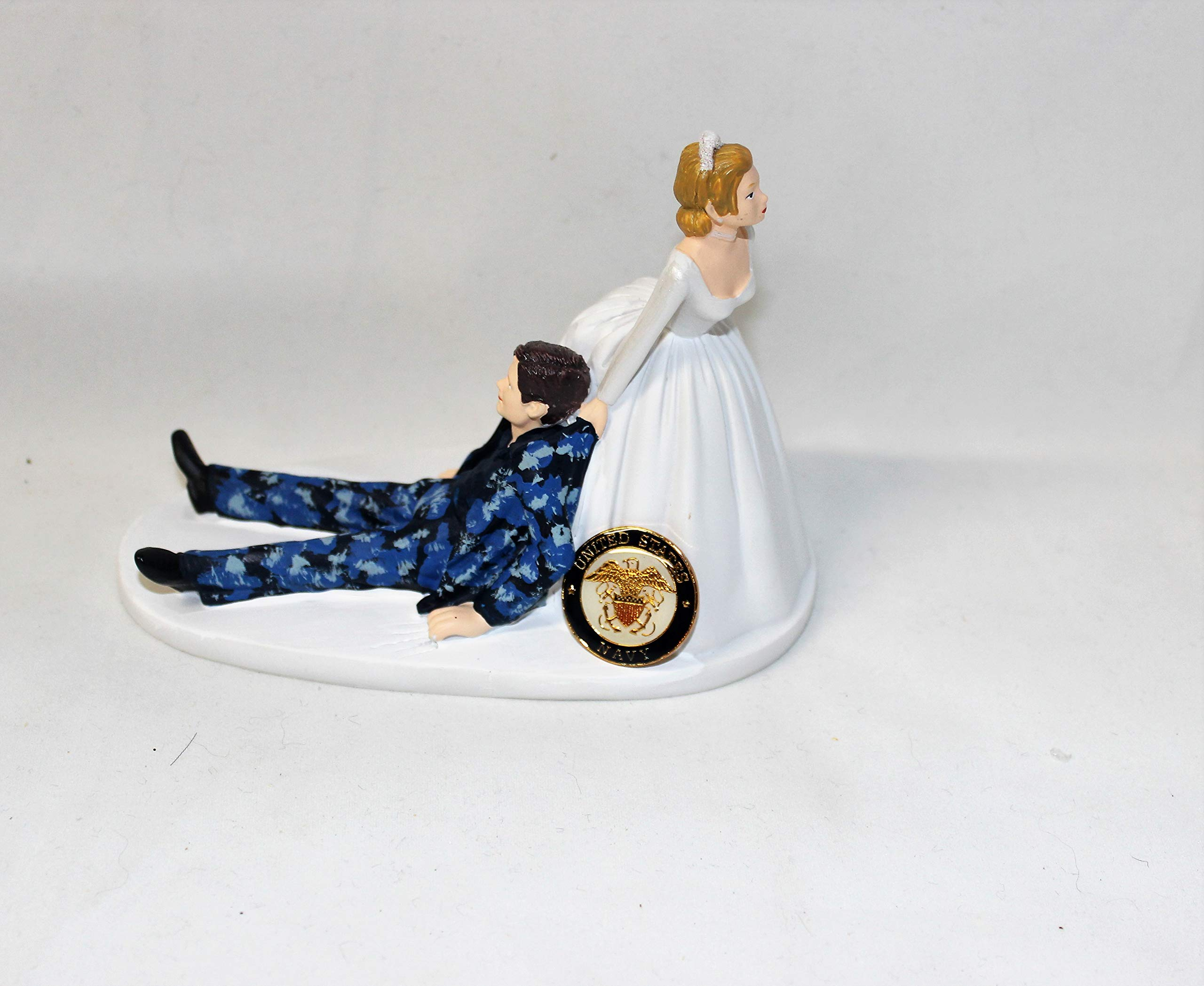 Navy Military Blue Camo humorous Wedding reception party Cake Topper